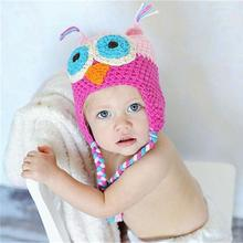 Baby Hat Cute Owl Pattern Knitting Gorro Crochet Newborn Photography Winter Hat Toca Infantil #1102