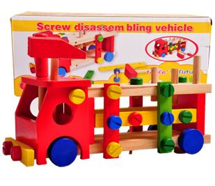 Children wooden screw assemble truck  toys/ wood vehicle blocks for Kids and Child learning and educational toys<br>