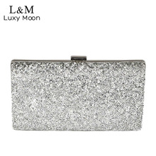 Women Day Clutch Rhinestone Party Chain Hand Bag Ladies Crystal Evening Bags Dressed Long Purse Black Gold Silver Glitter XA48H