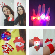 2018 New 24pcs Cartoon Led Flashing Light Up Glowing Finger Necklace Christmas Tree Brooch Bangle Headband Fun Toys Gifts For(China)
