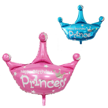 July Forest Free Shipping 1 piece Princess Crown Foil Balloons Pink Blue ballons birthday party decorations kids party Supplies(China)