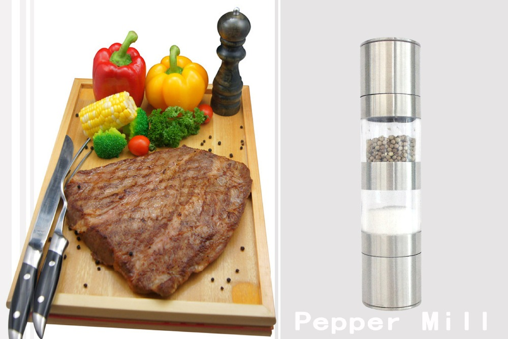 Stainless Steel Manual 2-in-1 Pepper Spice Mill Grinder Kitchen Accessaries Cooking Tool Impact Drill Pepper mill <br><br>Aliexpress
