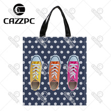 Navy blue dot retro colorful shoes Print Custom individual waterproof Nylon Fabric shopping bag gift bag Pack of 2