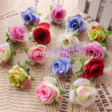 5pcs 4cm Decorative Cloth rose head with leaves For Wedding Decoration DIY Wreath Gift Scrapbooking Craft Flower(China)