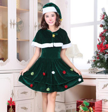 Adult Women Cosplay Santa Claus Costume Kawaii Girls' Dress Green Christmas Tree Female Celebrate Party Show Elegant Xmas Dress