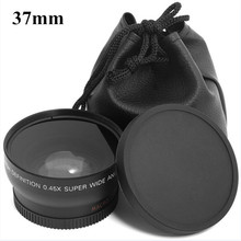 0.45x 37mm 37 mm Black Fisheye Lens Wide Angle Lens 0.45X  + Front  Rear Cap With Macro For Sony Nex For Canon Nikon 1pcs