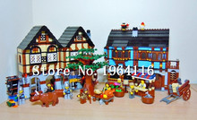 New 16011 castle Series the Medieval Market Village Model Building Brick Compatible 10193 classic Architecture Toys for children