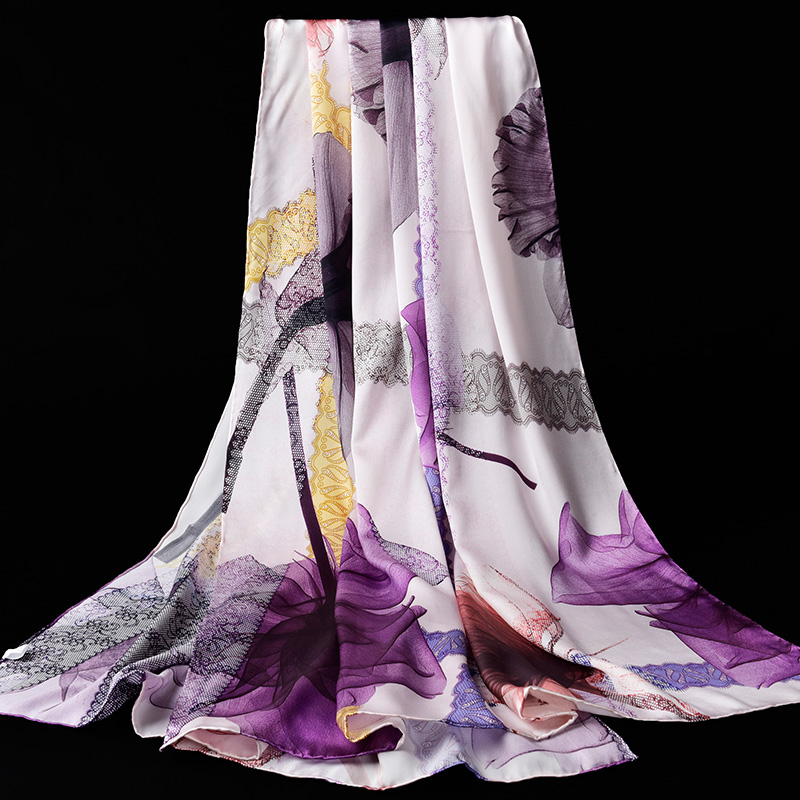 Natural Real Silk Scarf For Women Luxury Design Shawls Wraps Print Silk Scarves Neckerchief Foulard Femme Pashmina For Ladies