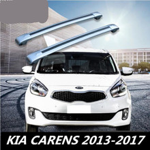 Car Aluminum Roof Rack Rail baggage luggage Cross Bar For KIA CARENS 2013 2014 2015 2016 2017 (With Lock) (Silver black)