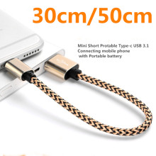 30cm 50cm Mini Short Protable Bling Braided USB C Type C Data Sync Charger Cable For Nexus 5X 6P For Oneplus 2 3 For LG G5