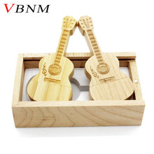 VBNM LOGO customized natural wooden guitar + box pendrive 4GB 8GB 16GB 32GB wood guitars usb flash drive memory stick gifts