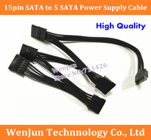 20PCS/LOT  SATA Power Supply Cable 15pin SATA  to 5 SATA Connector Lead For HDD SSD 18AWG ribbon cable