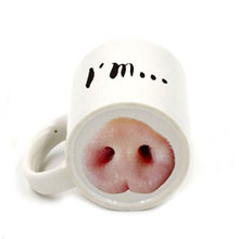 Creative I am Pig Funny Ceramic Pork Nose / Dog Nose Office Cup Coffee Coffee Mugs Free Shipping(China)