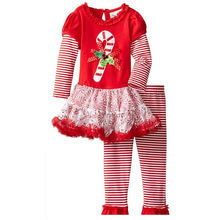 Childrens christmas clothing sets baby girls fashion cartoon Floral dress+striped pants 2pcs set kids Halloween clothes
