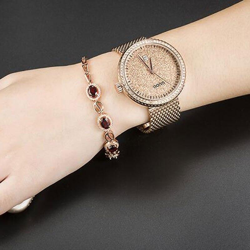 GUOU Watch Luxury Diamond Women Watches Fashion Casual Auto Date Ladies Quartz Watch Stainless Steel Clock saat relogio feminino<br>