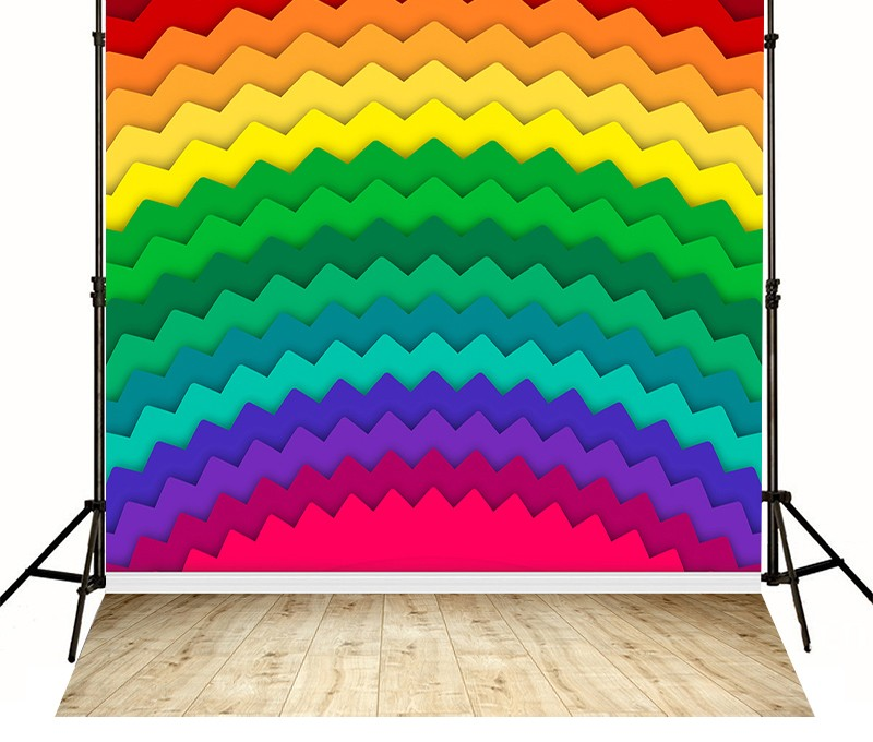 Chevron Lovely Color Rainbow backdrops High-grade Vinyl cloth Computer printed children Backgrounds<br><br>Aliexpress