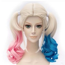 Soowee Curly Synthetic Hair Pink Green Ponytail Wig High Temperature Heat Resistant Fiber Hair Party Cosplay Wig(China)