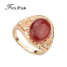 FANHUA Moonstone Gold-Color Charms Rings with Red Black Wedding Rings For Women Gift