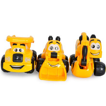 Kawaii 3Pcs/Lot Mini Cartoon Engineering Vehicles Excavator Sand Truck Forklift Model Children Birthday Gifts Toys Wholesale