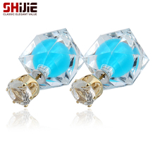 SHIJIE Korean Crystal Mini Stud Earrings for Women Lovely 8 color Perfume Bottle Glass Earring Bijoux Femme Fashion Jewelry Gift(China)