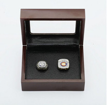 Cost Price Ring sets with Wooden Box Replica Hockey Copper High Quality 2pcs/Packs Chigaco Bears Championship Rings for Men(China)