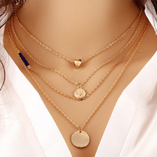 Singleline Fashion Gold Color Heart Corn Chain Necklace MultiLayer Pendant Collar Necklace for Women Jewelry Accessories