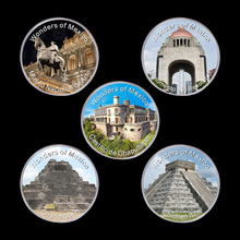 WR Decorative Souvenir Coin Wonders of Mexico 999.9 Silver Plated Metal Coins Art Crafts Quality Challenge Coins for Home Decor
