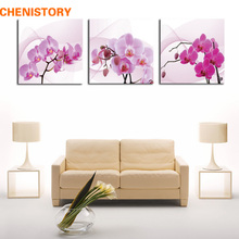 Unframed 3 Panel Pink Purple Butterfly Orchid Flower Modern HD Print Painting Canvas Home Wall Decor For Living Room Artwork