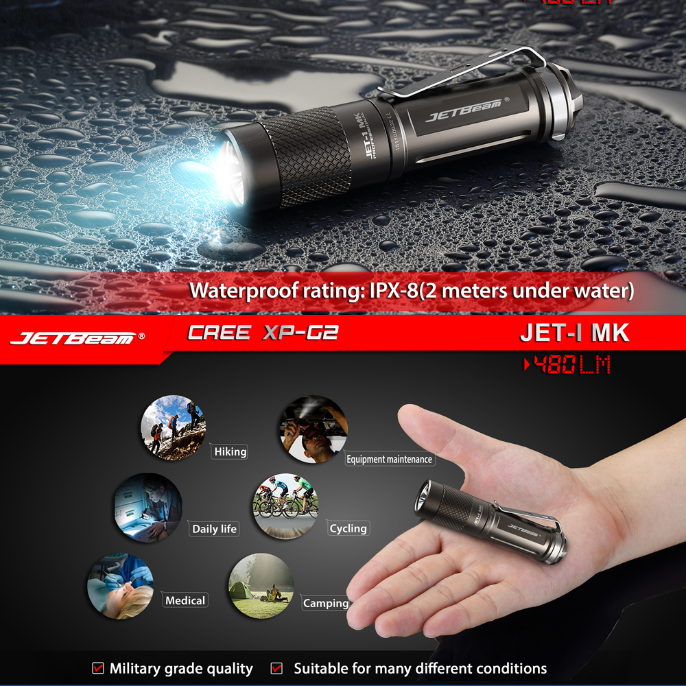 JETBeam JET-I Pocket Clip LED Flashlight Torch 480 Lumens CREE XP-G2 3-mode Twisting Switch Camping LED Lantern By AA or 14500<br>