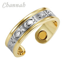Channah 2017 Ladies 2-Tone Gold Silver Copper Fish Magnetic Ring Resizable Female Magnets Women Jewelry Charm Finger Wear