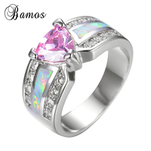Bamos 2017 Luxury Female Pink Heart Ring Fashion 925 Silver Filled White Fire Opal Ring Promise Engagement Rings For Women Gifts(China)