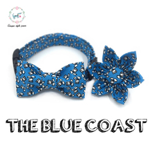 blue white flower handmade dog collar set with flower or bow tie personal custom pet pupply 100% cotton dog &cat necklace(China)