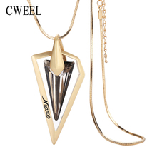 CWEEL Jewelry Gold Color Long Necklace Imitated Rhinestone Ball Pendant For Women Bridal Statement Wedding Dress Accessories