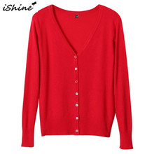 iShine Plus Size Women Cardigan Knitted Sweaters Coat Solid Long Sleeve V-Neck Ladies Cardigans Tops Famale Casual Crochet Tops(China)
