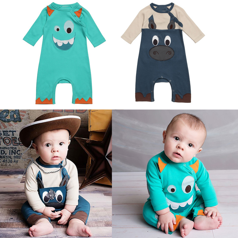 1Pc Baby Boys Long Sleeve Cotton Cartoon Rompers Outdoor Clothing Set Children Pullover Suit Baby Romper H0080(China (Mainland))
