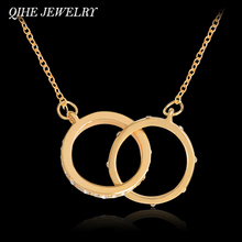 QIHE JEWELRY Double Circle Pendant Crystal Starburst Link Necklace Gold&Rose Gold Color Collar Collier Women Jewelry
