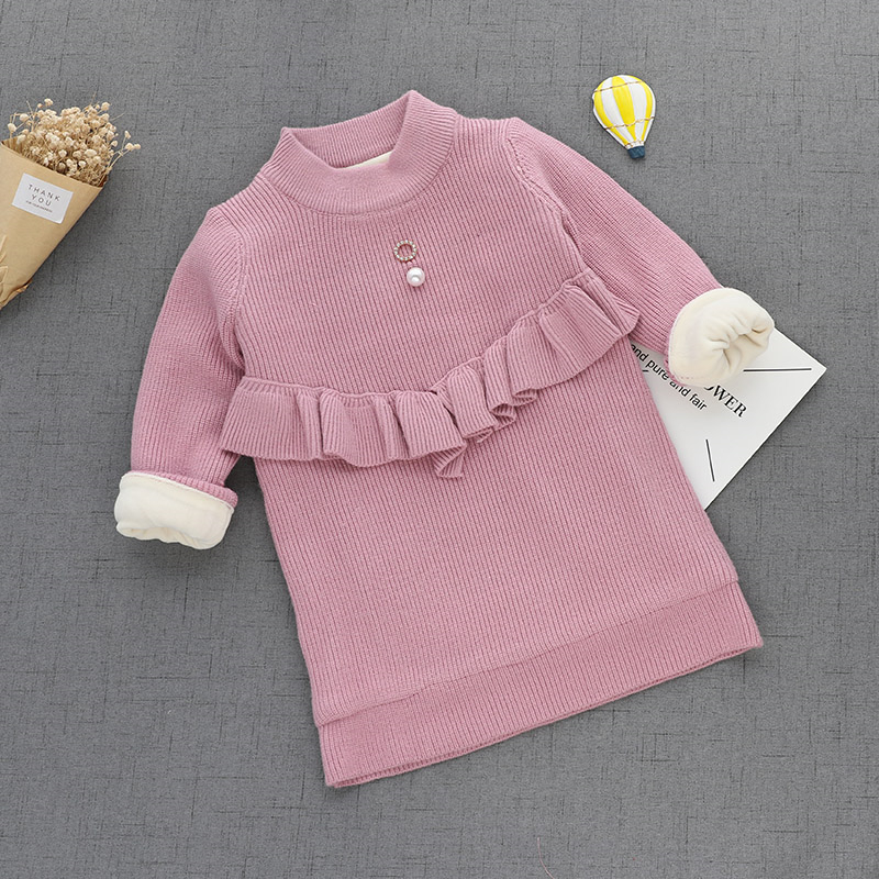 12M-5T Baby Sweater Plus Plush Thickening Sweater Baby Girl Clothes Pullover Keep Warm Knitted Sweater For Baby Girl Winter V20<br>