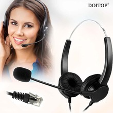 DOITOP 4-Pin RJ9 Crystal Head Hands-free Call Center Noise Cancelling Binaural Headset Headphone With Mic for Desk Telephone O5(China)