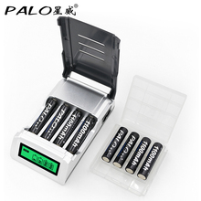 Aa aaa battery charger with LCD display with 8 pcs aaa nimh 1100mah rechargeable palo brand battery