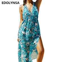 Beach Cover up 2018 Print Chiffon Swimwear Ladie Sun Bath Sexy Beach Dress Coverup Praia Beach Wear Cover ups Swimwear #Q179(China)