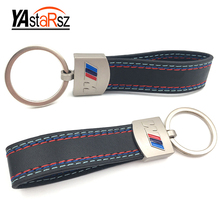 Car styling Leather Belt Chrome Keyring Keychain Key Chain For BMW M Sport E46 E39 E60 F30 E90 F10 F30 E36 X5 E53 E30 E34 X1 X3