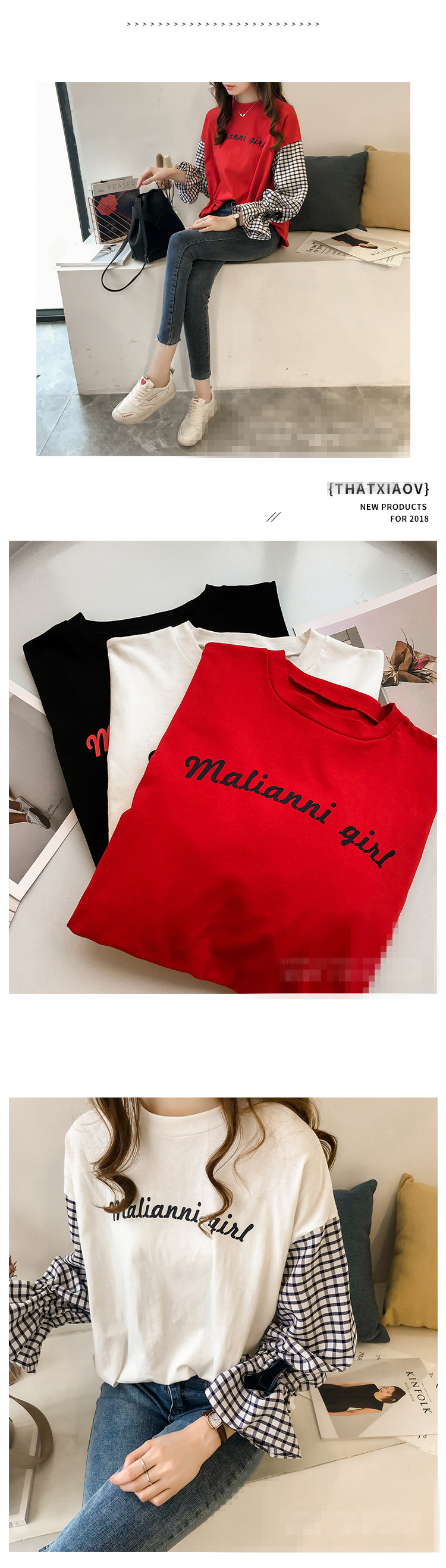 M-4xl Plus Size Cotton Casual T-shirts Women Plaid Patchwork Flare Sleeve O-neck Tshirts Harajuku Fake Two Piece Loose Tees Tops 13 Online shopping Bangladesh