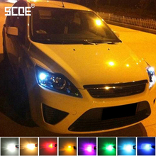 SCOE Car Styling 2x6SMD LED Width Clearance Light Lamp Bulb Source For Ford Focus 2 Crystal Blue Warm White Yellow Green Purple
