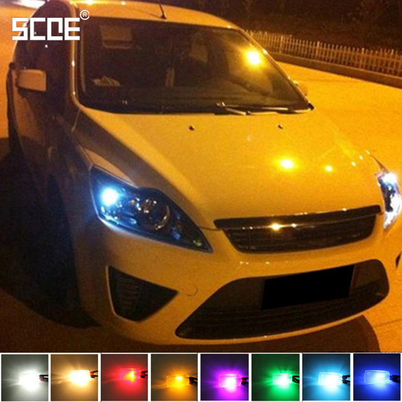 SCOE Car Styling 2x6SMD LED Width Clearance Light Lamp Bulb Source For Ford Focus 2 Crystal Blue Warm White Yellow Green Purple(China)