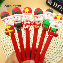 New 1pc Christmas Snowman Soft Pottery Cartoon Santa Claus Christmas Crutch Style Ballpoint Pen Office Learning Supplies