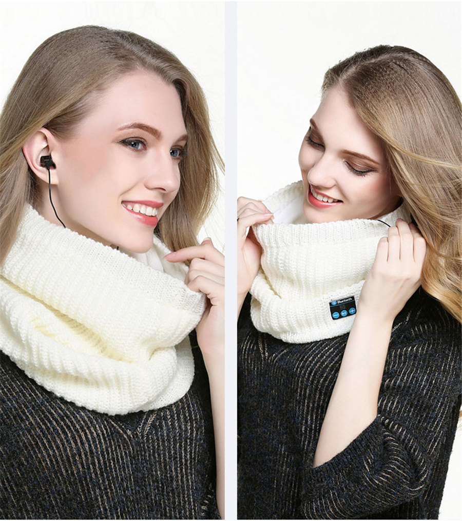Wireless Bluetooth V3.0 Soft Scarf Neckerchief Winter Knitted Design Smart Scarf Headset Headphone Speaker Microphone