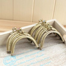 8.5cm Vintage Antique Bronze DIY  Metal Purse Frame Coin bags crystal rhinestone kiss Clasp  Clutch Purse Frame,14Pcs/Lot