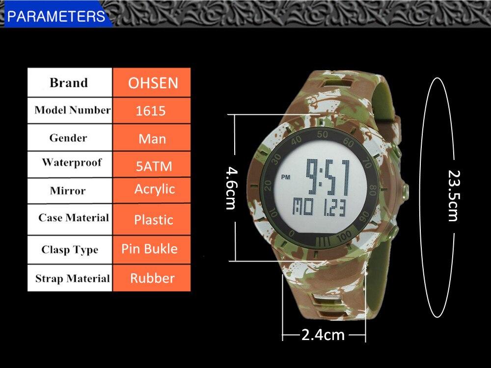 Digital LED Watch Army Green Men Sports Wristwatches Rubber Strap Waterproof Fashion Alarm Watch Clocks Stopwatches Reloj Hombre 6