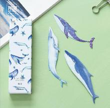 30 pcs/pack Vivid Giant Whale Bookmark Paper Cartoon Animals Bookmark Promotional Gift Stationery Film Bookmark