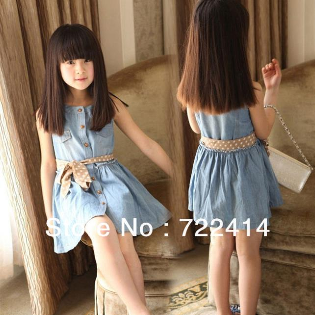 childrens clothing 2015 new baby girls dress girls casual princess dresses kids cotton denim sleeveless dress baby casual dress<br><br>Aliexpress
